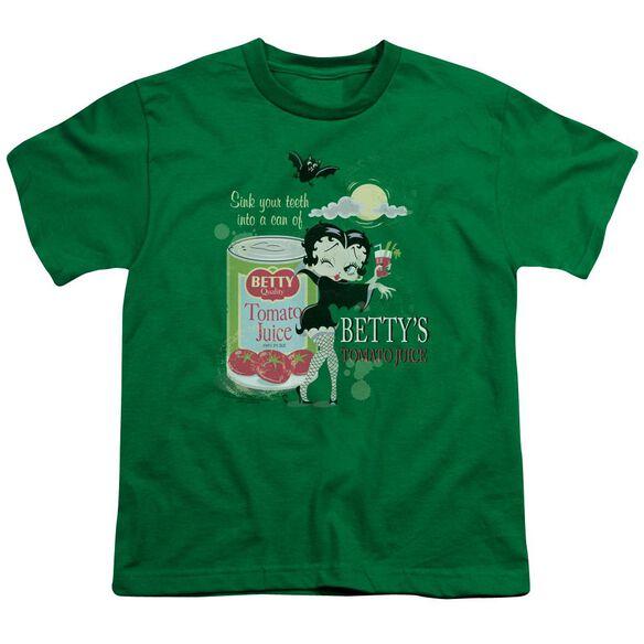 Betty Boop Vampire Tomato Juice Short Sleeve Youth Kelly T-Shirt