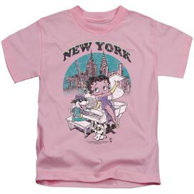 Betty Boop Singing In Ny Short Sleeve Juvenile Pink T-Shirt