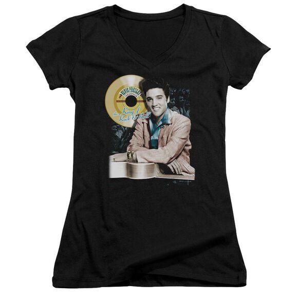 Elvis Gold Record Junior V Neck T-Shirt