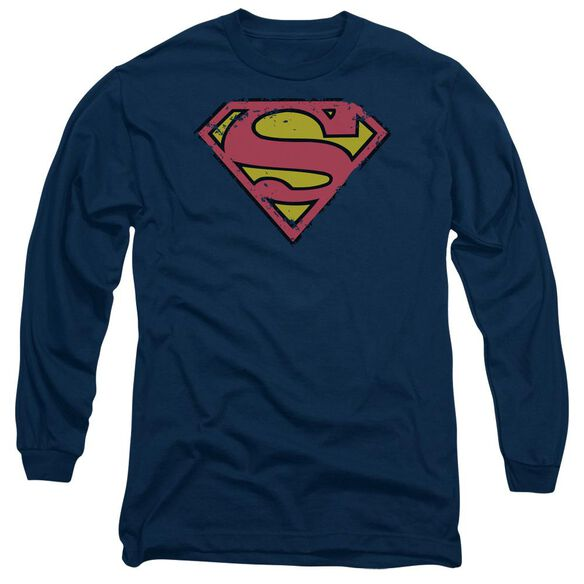 Superman Distressed Shield Long Sleeve Adult T-Shirt