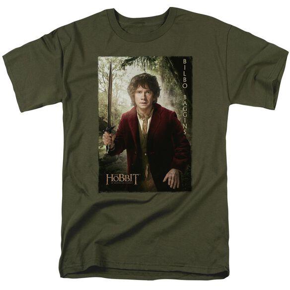 The Hobbit Bilbo Poster Short Sleeve Adult Military Green T-Shirt