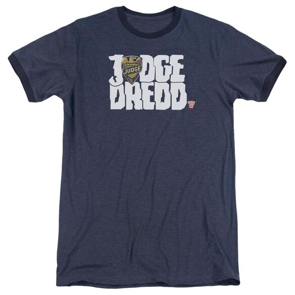 Judge Dredd Logo Adult Heather Ringer Navy