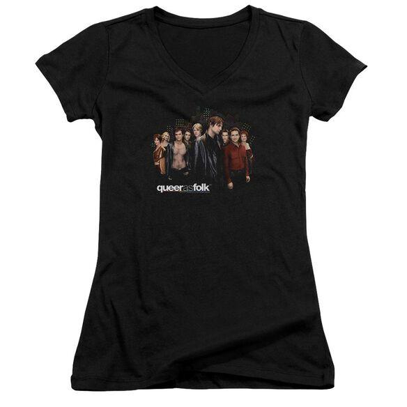 Queer As Folk Title Junior V Neck T-Shirt