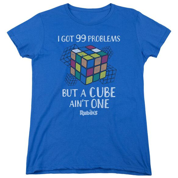 Rubiks Cube 99 Problems Short Sleeve Womens Tee Royal T-Shirt
