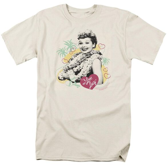 I Love Lucy Luau Graphic Short Sleeve Adult Cream T-Shirt