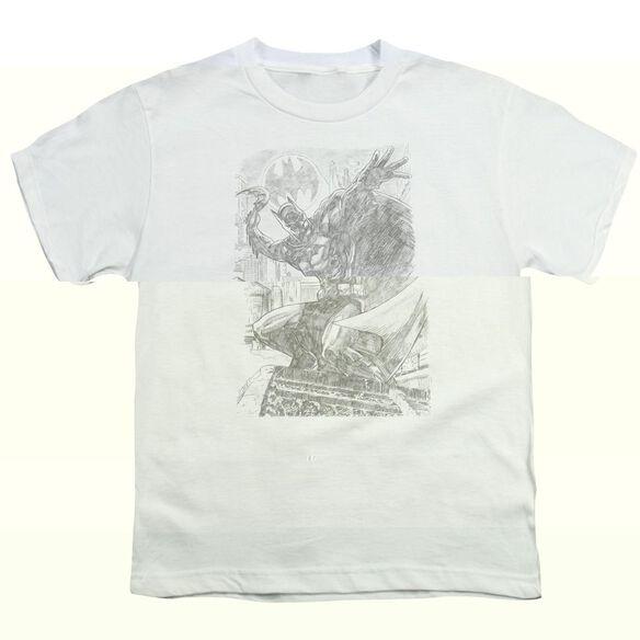 BATMAN PENCIL BATARANG THROW - S/S YOUTH 18/1 - WHITE T-Shirt