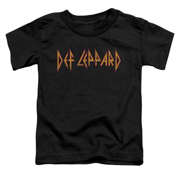 Def Leppard Horizontal Logo Short Sleeve Toddler Tee Black T-Shirt