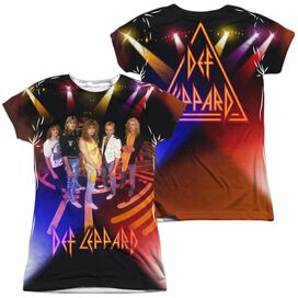 Def Leppard On Stage (Front Back Print) Short Sleeve Junior Poly Crew T-Shirt