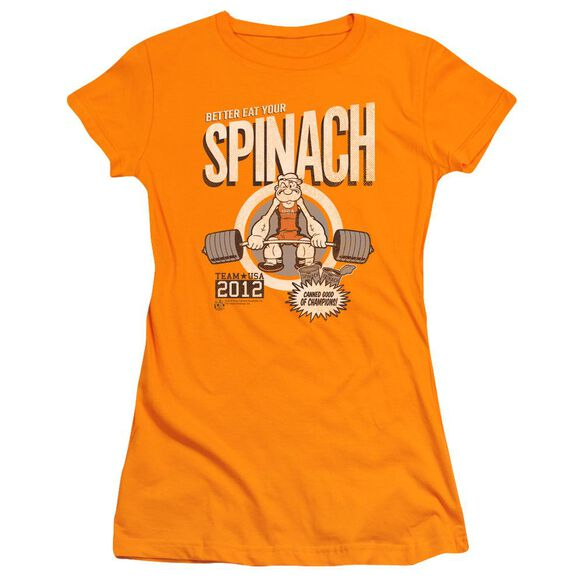 Popeye Eat Your Spinach Short Sleeve Junior Sheer T-Shirt