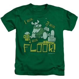Hagar The Horrible 1 2 3 Floor Short Sleeve Juvenile Kelly Green T-Shirt