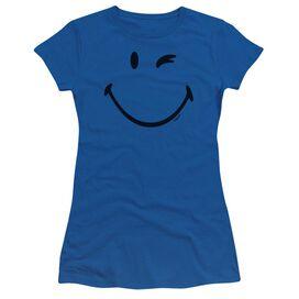 Smiley World Big Wink Short Sleeve Junior Sheer Royal T-Shirt