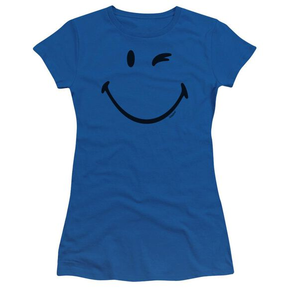 Smiley World Big Wink Short Sleeve Junior Sheer Royal T-Shirt
