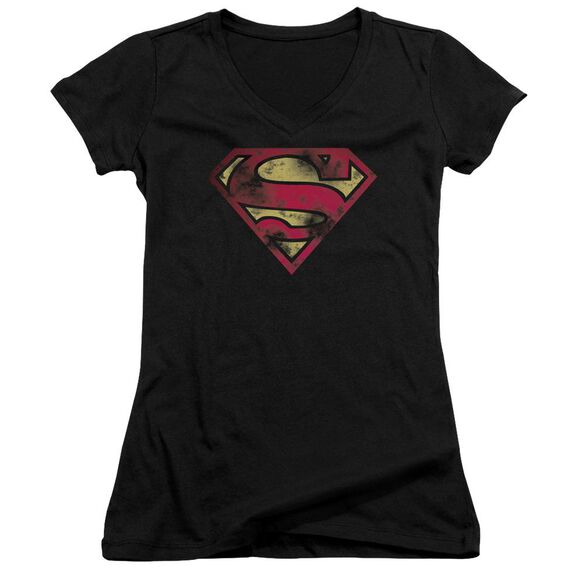 Superman War Torn Logo Junior V Neck T-Shirt