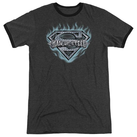 Superman Man Of Steel Shield Adult Heather Ringer Charcoal