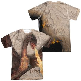 Hobbit Smaug Attack (Front Back) Short Sleeve Adult Poly Crew T-Shirt