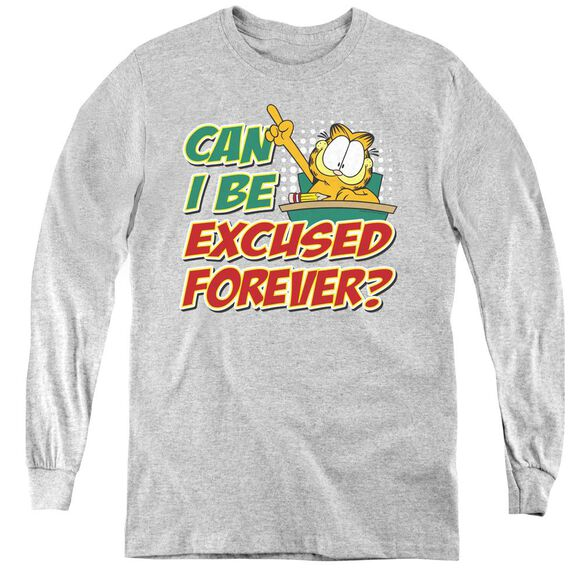 Garfield Excused Forever - Youth Long Sleeve Tee - Athletic Heather