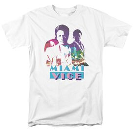 Miami Vice Crockett And Tubbs Short Sleeve Adult White T-Shirt
