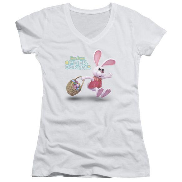 Here Comes Peter Cottontail Hop Around Junior V Neck T-Shirt