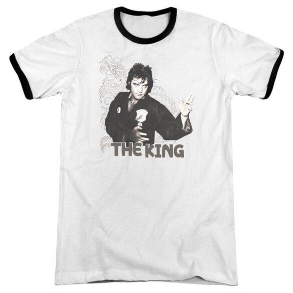 Elvis Fighting King Adult Ringer White Black