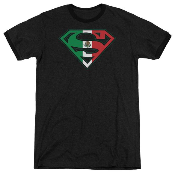 Superman Mexican Flag Shield Adult Heather Ringer