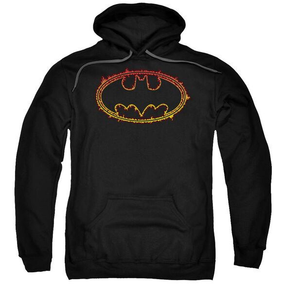 Batman Flame Outlined Logo Adult Pull Over Hoodie Black