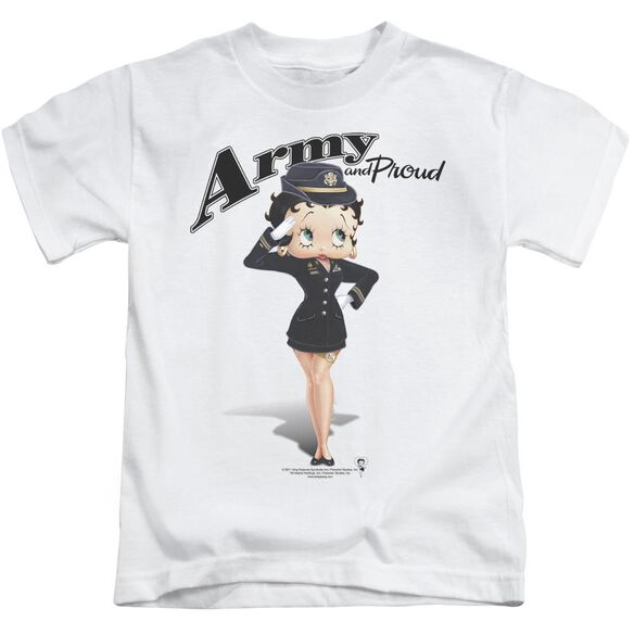 Betty Boop Army Boop Short Sleeve Juvenile White Md T-Shirt