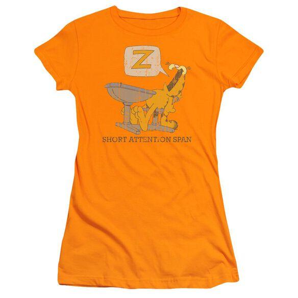 GARFIELD ATTENTION SPAN - S/S JUNIOR SHEER - ORANGE T-Shirt