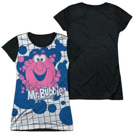 Mr Bubble Tub Time Short Sleeve Junior Poly Black Back T-Shirt