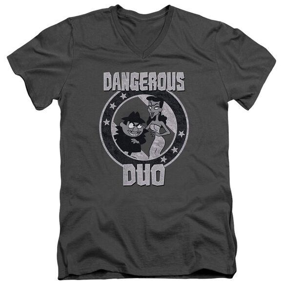 Rocky & Bullwinkle Dangerous Short Sleeve Adult V Neck T-Shirt