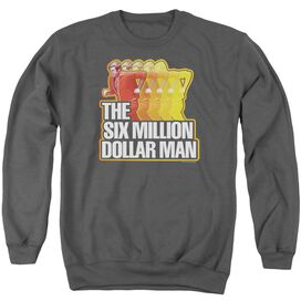 Six Million Dollar Man Run Fast - Adult Crewneck Sweatshirt - Charcoal