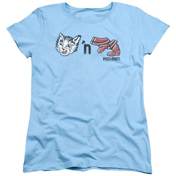 Puss N Boots Rebus Logo Short Sleeve Womens Tee Light T-Shirt