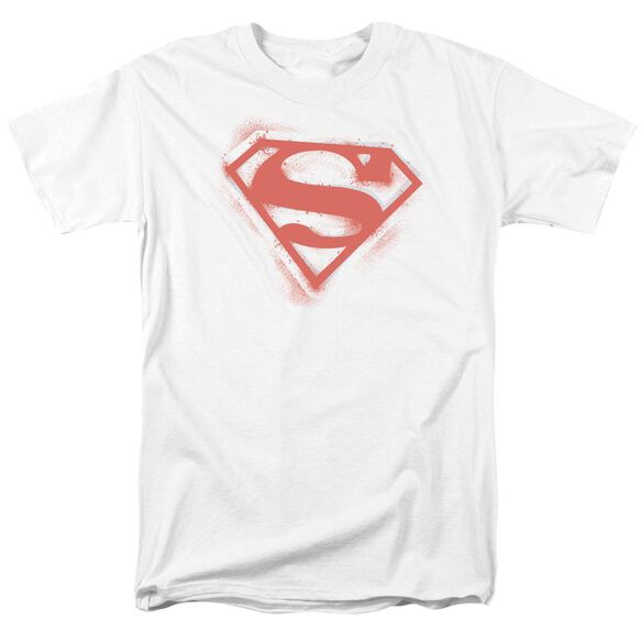 Superman Spray Paint Shield Short Sleeve Adult White T-Shirt