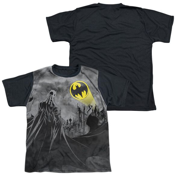 Batman Heed The Call Short Sleeve Youth Front Black Back T-Shirt