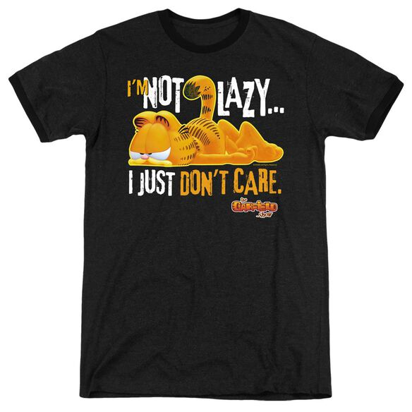 Garfield Not Lazy - Adult Heather Ringer - Black