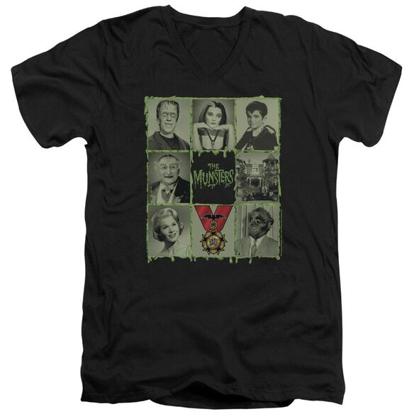 The Munsters Blocks Short Sleeve Adult V Neck T-Shirt