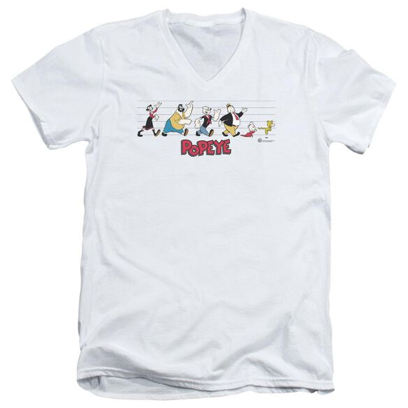 Popeye The Usual Suspects Short Sleeve Adult V Neck T-Shirt