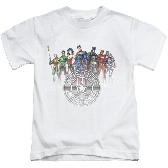 Jla Circle Crest Short Sleeve Juvenile White T-Shirt