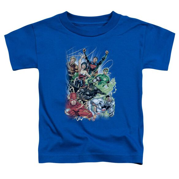 Jla Justice League #1 Short Sleeve Toddler Tee Royal Blue Md T-Shirt