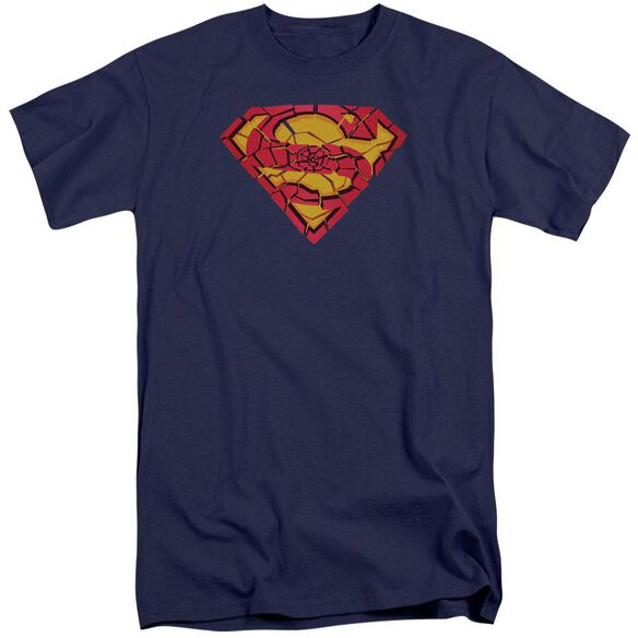 Superman Shattered Shield Short Sleeve Adult Tall T-Shirt
