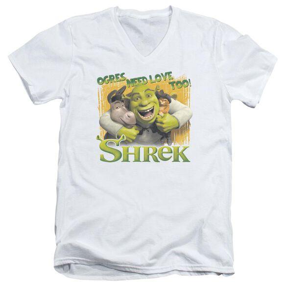 Shrek Ogres Need Love Short Sleeve Adult V Neck T-Shirt