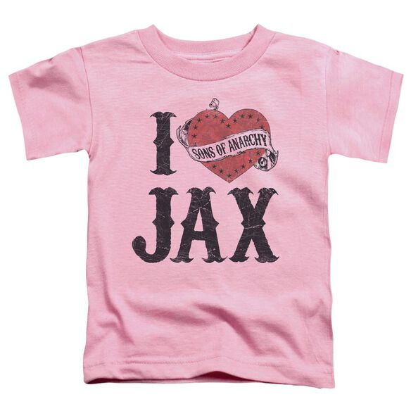 Sons Of Anarchy I Heart Jax Short Sleeve Toddler Tee Pink T-Shirt