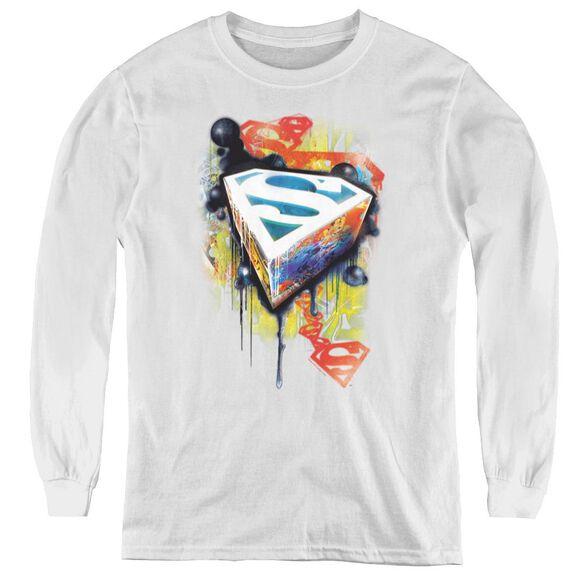 Superman Urban Shields - Youth Long Sleeve Tee - White