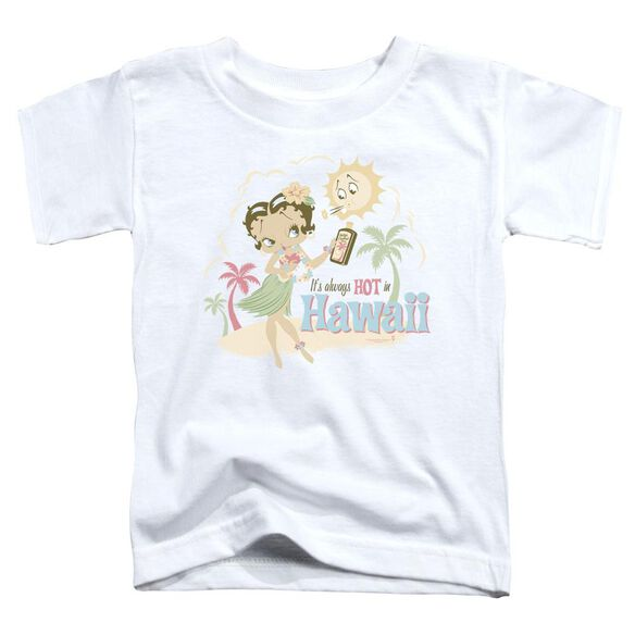 Betty Boop Hot In Hawaii Short Sleeve Toddler Tee White Lg T-Shirt