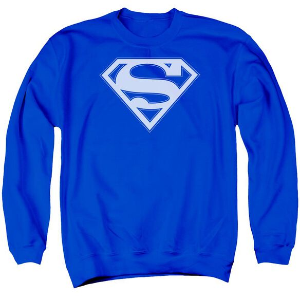 Superman &Amp; White Shield Adult Crewneck Sweatshirt Royal