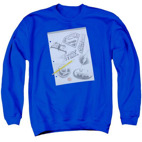 Dc Logo Note Paper Adult Crewneck Sweatshirt Royal