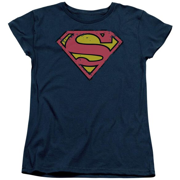 SUPERMAN DISTRESSED SHIELD - S/S WOMENS TEE - NAVY T-Shirt