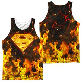 Superman Fire Logo (Front Back Print) Adult 100% Poly Tank Top