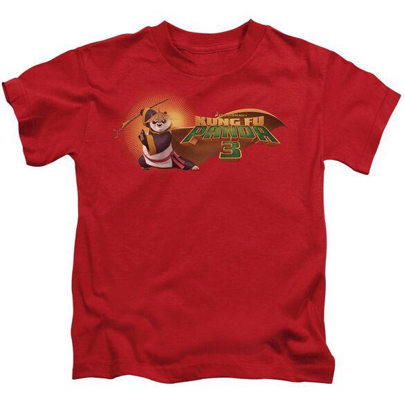 Kung Fu Panda Po Logo Short Sleeve Juvenile Red T-Shirt