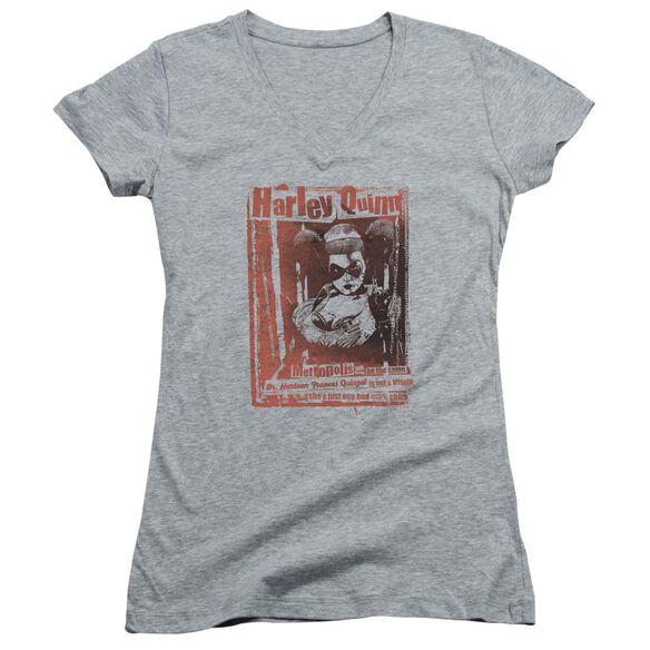 Batman Dr Quinn Junior V Neck Athletic T-Shirt
