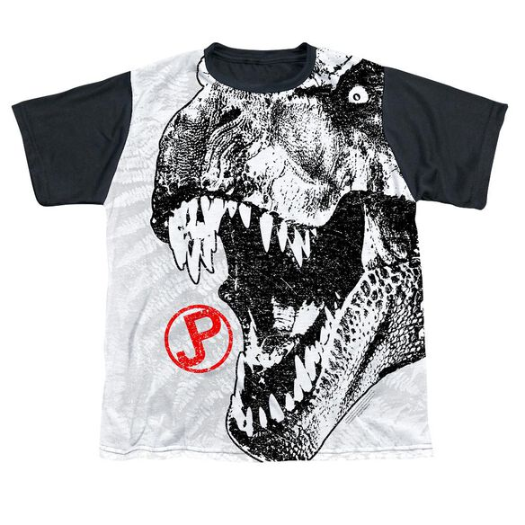 Jurassic Park T Rex Head Short Sleeve Youth Front Black Back T-Shirt